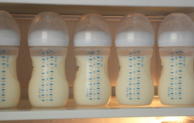 milk bottles in fridge